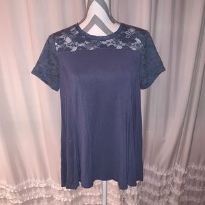 Blue shirt with lace detail